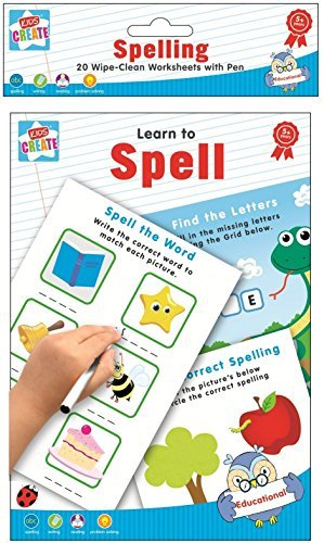 Learn-To-Spell-Spelling-Writing-Reading-20-Wipe-Clean-Worksheets-with-Pen