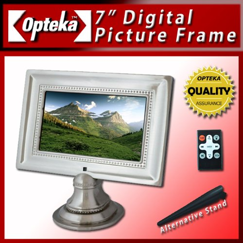 Opteka 7-Inch Ultra High Resolution Pewter Digital Picture Frame with Deluxe Pedestal Stand