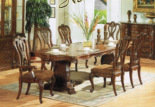 7pc Formal Dining Table Chairs Set Cherry Finish Larry N Bush19004