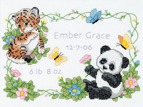 Dimensions Needlecrafts Stamped Cross Stitch, Baby Animals Birth Record front-218586