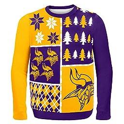 NFL Minnesota Vikings Busy Block Ugly Sweater, Medium, Purple