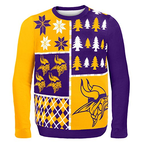 NFL Minnesota Vikings Busy Block Ugly Sweater
