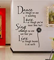 Hotportgift Dance love sing live Wall Quotes Decal Removable stickers decor Vinyl Art by HPG