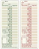 "Adams Time Cards, Bi-Weekly, 2-Sided, Overtime Format, 3-3/8"" x 9"", Manila, Green/Red Print, 200-Count (9675-200)"