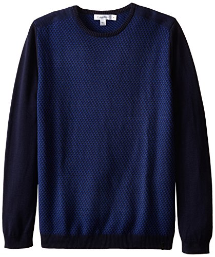 Calvin Klein Men's Rib Shoulder and Jacquard Crew Neck Sweater, Peacoat, Medium