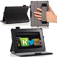 MoKo(TM) Slim-fit Folio Cover Case For Amazon Kindle Fire HD 7 Inch Tablet BLACK (with Automatic Wake/Sleep Function...