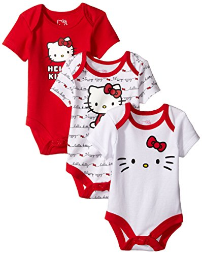 Hello Kitty Baby Girls' Value Pack Bodysuits, Red/White, 0-3 Months