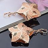 Skyllc® 14k Noble Dama Rose plateó los pendientes pendientes plegable Fan Traspasado