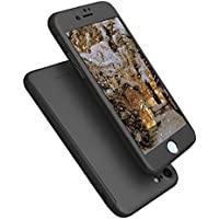 AnsTOP All Round Full Body Coverage Protective Hard Thin Grip Case for iPhone 7 (Black)