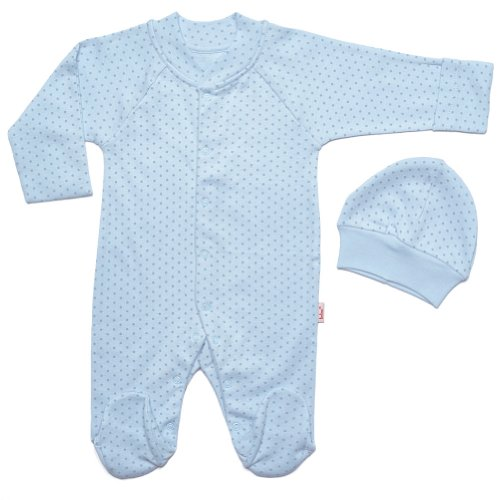"""Kid U Not"" Light Blue Polka Dot Print Luxurious Cotton Footie And Hat. (1 (6 Months))"