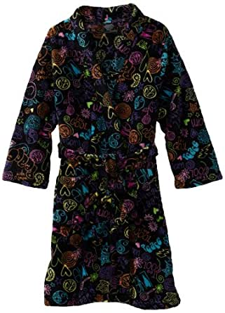Fancy Girlz Big Girls'  Doodles Robe, Black, Medium (10/12)