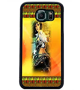 PrintDhaba Girl with Gun D-4590 Back Case Cover for SAMSUNG GALAXY S6 EDGE (Multi-Coloured)