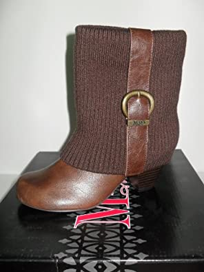 WOMEN'S MINX ME BROWN SWEATER ANKLE BOOTS WITH THICK HEELS (PORTIA), SIZE 6.5