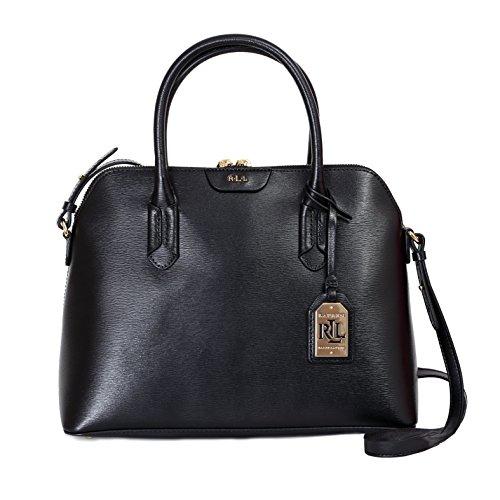 Handtasche-Ralph-Lauren-Damen-Leder-Schwarz-und-Gold-N91L3590RL260VOLAU-Schwarz-13x255x335-cmEU