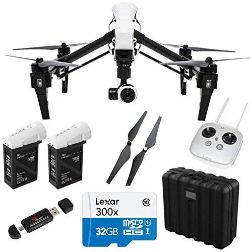 DJI Inspire 1 Quadcopter with 4K Video + Spare TB47B Intelligent Flight Battery + Lexar 32GB micro SDHC 633x Class 10 UHS-1 Memory Card + DJI Self Tightening Propellers + Ritz Gear Card Reader Writer