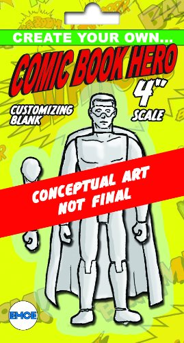 "Spherewerx Create Your Own Comic Book Hero Standard Male Customizing Blank 4"" Action Figure - 1"