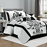 Chezmoi Collection 7-Piece White with Black Floral Flocking Comforter Set Bed-in-a-Bag for Queen Size Bedding, 90 by 92-Inch