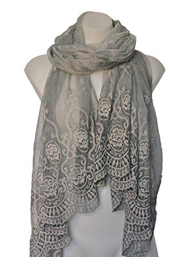 Terra Nomad Women's Sheer Long Silk & Viscose Lace Scarf/Shawl - Silver Grey