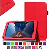 """Fintie Folio Premium Vegan Leather Case Stand Cover for Upgraded Time2 7 Inch Android Tablet 2015, Time2Touch GC750C 7"""" Quadcore Android Lollipop Tablet, Time2Touch SC744B 7"""" Dual Core Android Kitkat Tablet, BTC Flame 7 Inch UK ATM7059 A9 Android Tablet, 2015 SATUS 7 Inch Android Tablet, Trimeo 7 Inch Windows 8.1 Tablet, LENOTAB 7 Inch Windows Tablet - Red"""