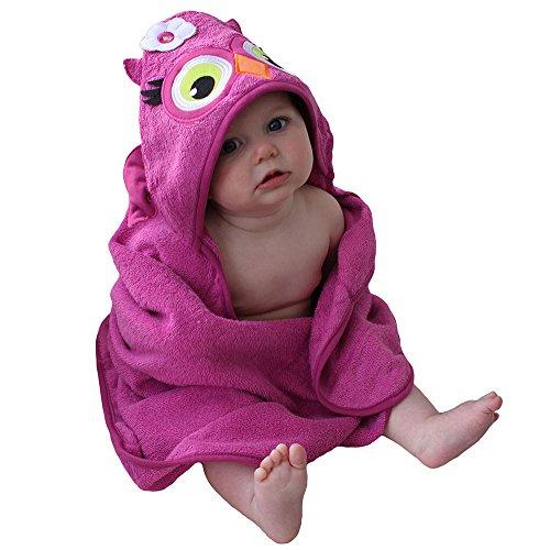 Sozo Baby-Girls Newborn Owl Hooded Towel, Pink, 0-2 Years