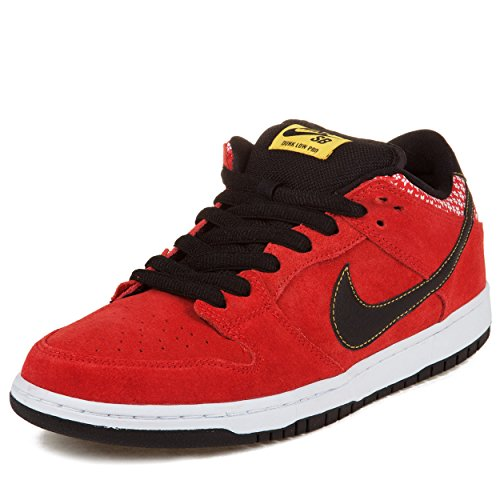 "Nike Mens Dunk Low Premium Sb ""Firecracker"" Challenge Red/Black-White Suede Skateboarding Size 10"