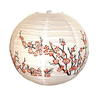 "Red Peach Blossom Flowers White Color Chinese/Japanese Paper Lantern/Lamp 16"" Diameter - Just Artifacts Brand"