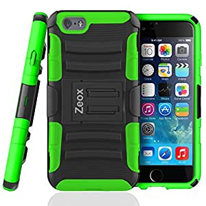 iPhone 6 Case, Zeox Dual Layer [Kickstand] Apple iPhone 6 Case (4.7-inch) Prime Series Holster Cover with Kickstand and Locking Belt Swivel Clip for iPhone 6 (Black/Green) by ZEOX
