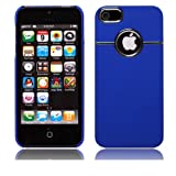 COCO Fun Chrome Ring Series Hard Back Case Cover For iPhone 5 5G + Clear Flim Screen Protector, Blue