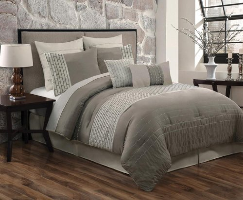 Luxury Home 8-Piece City Scene Comforter Set, Queen, Taupe back-6140