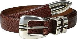 Johnston & Murphy Men's Lizard Grain Ranger Belt,Cognac,Size 40