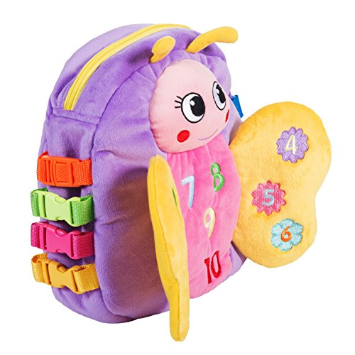 BUCKLE-TOY-Blossom-Butterfly-Backpack-Toddler-Early-Learning-Basic-Life-Skills-Childrens-Plush-Travel-Activity