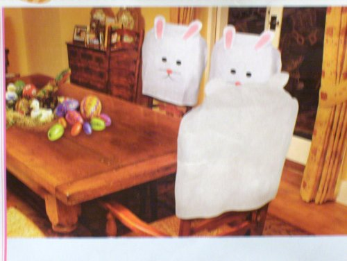 Bunny Chair Covers, Easter, Holiday Theme Party Decoration, Set of 4