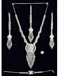 White Crystal Necklace Set with Bracelet, Mang Tika and Ring - Stone, Bead and Metal