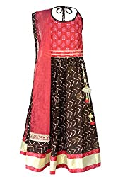 COTTON BROWN AND RED LENGHA CHOLI