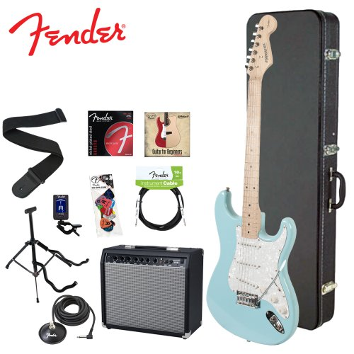 Fender Starcaster JF-028-0002-504-KIT-4 Daphne Blue Electric Guitar with Stand, Strap, Strings, Case, DVD, Tuner, Picks, Cable, Footswitch and 25W Amplifier