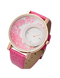 Felizo Leather Strap Analogue Womens Round Dial Watch With Moving Beads - Pink
