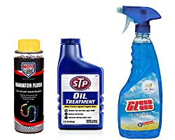 Combo of 3 Items - Moto Lube Radiator Flush 300 ml. & STP Oil Treatment 443 ml. & Auto Pearl Air Gloss Car Glass Cleaner 500 ml.