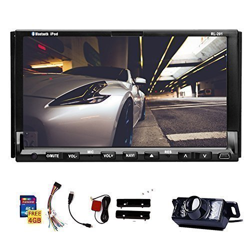 Double Din Universal In Dash HD Touch Screen Car DVD Player GPS Navigation Stereo AM/FM Radio Support SD/USB/Bluetooth/1080P/steering wheel control/Phonebook and night view backup Camera As Gift (Car Stereos With Gps compare prices)