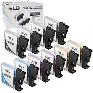 LD © Compatible Replacement for Brother LC61 Set of 10 Ink Cartridges Includes: 4 LC61BK Black, 2 LC61C Cyan, 2 LC61M Magenta, and 2 LC61Y Yellow for use in Brother DCP 165c, 375CW, 385CW, 395DN, 858CW, J125, J140W, MFC 250C, 255CW, 290C, 295CN, 490CW, 495CW, 5490CN, 5895cw, 790CW, 795CW, 990CW, J220, J265W, J270W, J410W, J415W, J615W, and J630W Printers