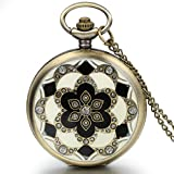 JewelryWe Romantic Gift Peach Blossom Floral Woman Pocket Watch Pendant Necklace with Chain in Gift Bag