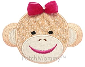 PatchMommy Iron On Applique Patch, Animals - Girl Sock Monkey - Kids Baby