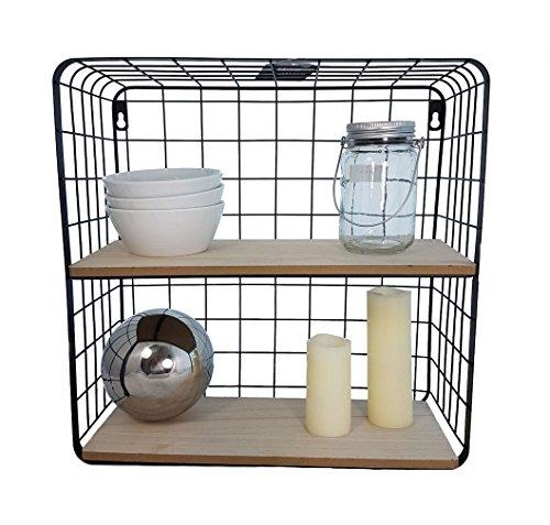 Gitter-Wandregal-mit-2-Holzablagen-40x40x15-cm-Modernes-Kchenregal-oder-Badregal-aus-Metall-und-Holz
