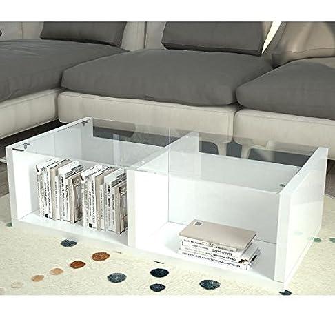 finlandek Tavolino Gina 100x 50cm–bianco laccato e vetro