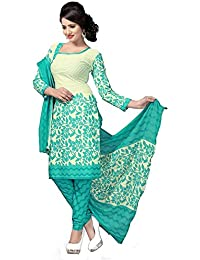 Clickedia Women's Straight Cut Poly Cotton Printed White & Green Salwar Suit - Dress Material