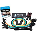 Resistance Band Set - 5 Stackable Exercise Bands with Waterproof Carrying Case, Door Anchor & Ankle Straps - 100% Life Time Guarantee - Free Exercise Guide