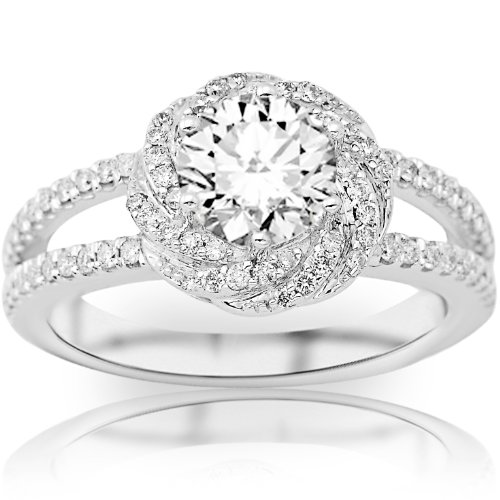1.32 Carat Round Cut / Shape Gia Certified Pave Set Halo Style Floral Split Shank Diamond Engagement Ring ( E Color , Si1 Clarity )