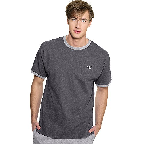 Champion Cotton Jersey Men's Ringer T Shirt_Granite Heather/Oxford Grey_XXL