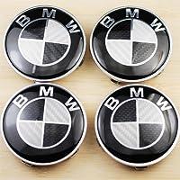 4 Bmw Black Carbon Fiber Wheel Center Caps Badge E36 E39 E46 E60 E90 M3 Emblem 68mm by bmw