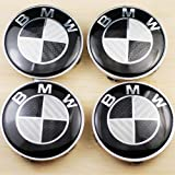 4 BMW Black CARBON FIBER Wheel Center Caps, Badge, E36 E39 E46 E60 E90 M3 Emblem 68mm