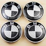 4 BMW Black CARBON FIBER Wheel Center...